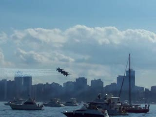 Add Comment To: 4 Blue Angels flying very close together